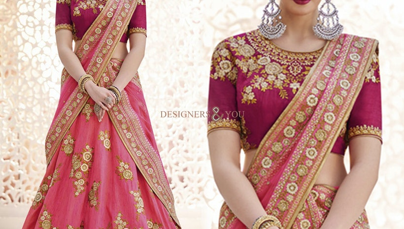 Good Looking Pink Heavy Work Silk Bridal Lehenga Choli