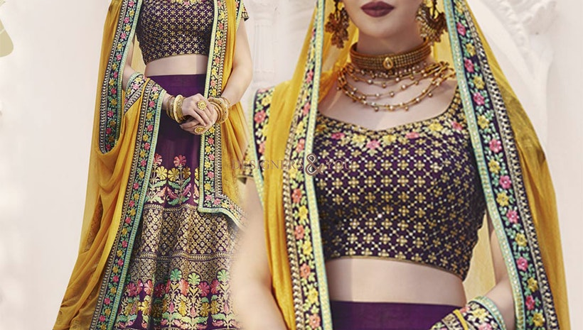 Bewitching Purple Heavy Work Silk Bridal Ghagra Choli