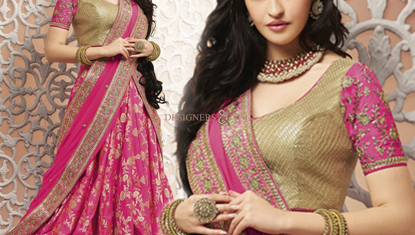Faciable Pink Heavy Work Brocade Lehenga Blouse For Bride