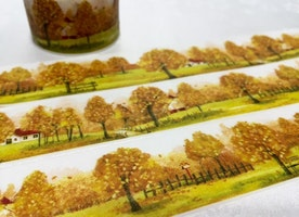 Autumn washi tape 10M x 3cm Fall tree Autumn tree scenes Landscape deco tape yellow leaves golden tree sticker tape planner scrapbook gift