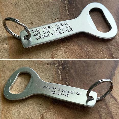 Personalized bottle opener keychain