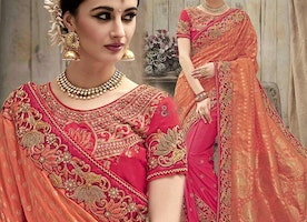 Pleasing Orange And Pink Silk Embroidered Wedding Sari For Bride