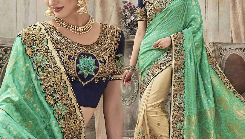 Delightful Beige And Green Silk Embroidered Wedding Sari 2017