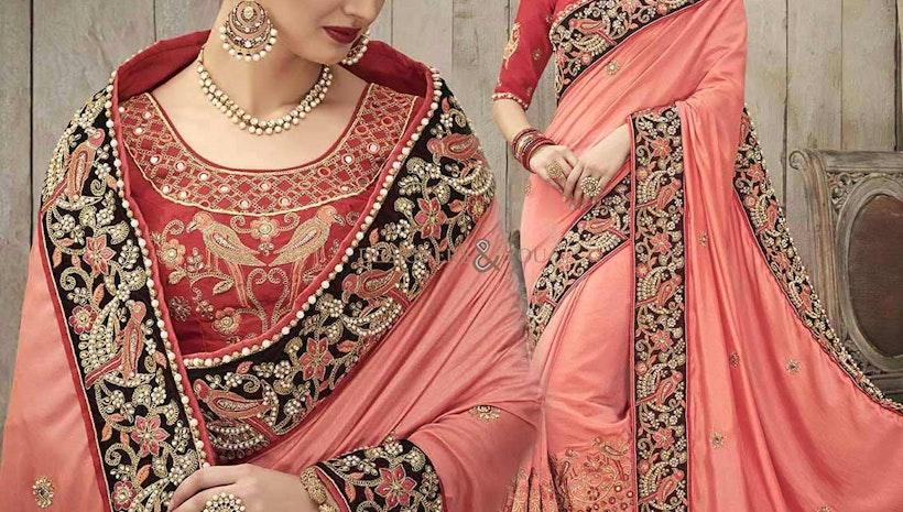 Ephemeral Peach Silk Embroidered Wedding Sari Online