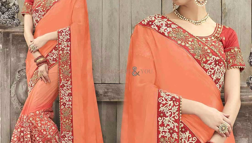 Charming Pink Silk Embroidered Wedding Sari In India