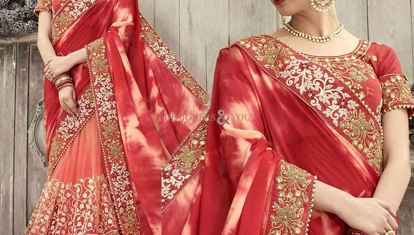 Gorgeous Peach Silk And Net Embroidered Wedding Saree 2017
