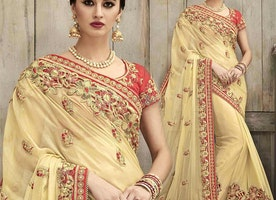 Appealing Beige Silk Embroidered Wedding Saree For Bride