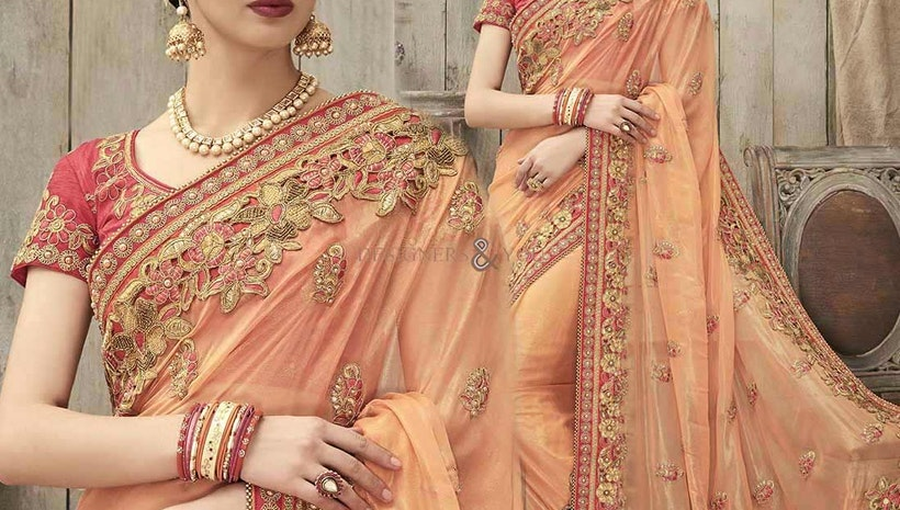 Beguiling Peach Silk Embroidered Wedding Saree Online