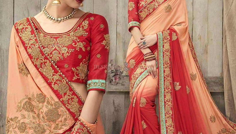 Lovely Peach And Red Silk Embroidered Wedding Saree In India