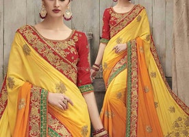 Good Looking Yellow Silk Embroidered Design For Wedding Party
