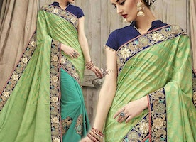 Bewitching Green And Sea Green Silk Embroidered Latest Wedding Saree