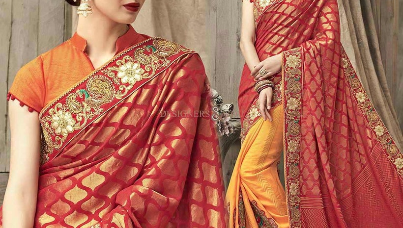 Deddable Red And Yellow Silk Embroidered Wedding Saree Design Uk Style