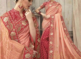 Faciable Peach And Red Silk Embroidered Designer Wedding Saree