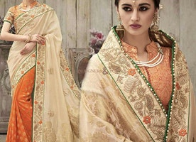 Graceful Orange And Beige Silk Embroidered Marriage Style Saree