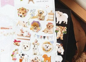 cute Dog sticker lovely dog deco sticker fancy flower dog wedding dog puppy party baby dog label parisian pet dog planner sticker