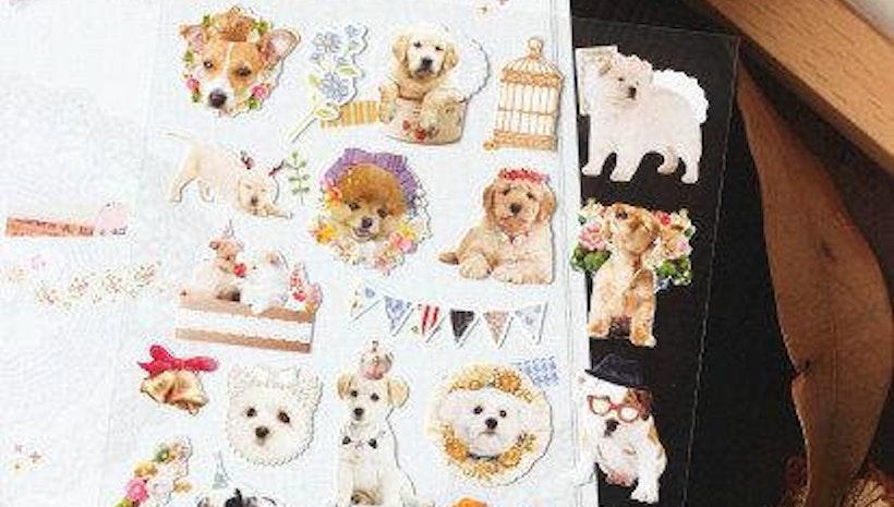 cute Dog sticker lovely dog deco sticker fancy flower dog wedding dog puppy party baby dog label parisian pet dog planner sticker