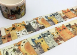 Cat washi tape 5M x 3cm Cute cat EXTRA WIDE tape Watercolor cat funny cat pussy kitten fat cat sticker tape cat planner diary meow meow gift