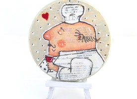 Add A Little Whimsy to your Kitchen Decor! Mixed Media Painting by Suzanne urban