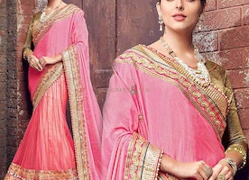 Enchanting Purple And Beige Embroidered Marriage Style Saree
