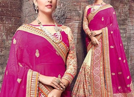 Magnetic Pink And Gold Embroidered Chiffon And Net Marriage Style Sari