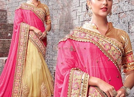 Lovable Maroon And Red Mirror Worked Chiffon Sari For Engagement