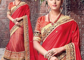 Likeable Beige And Orange Sequins Worked Saree For Engagement