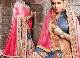 Prepossessing Pink And Brown Heavy Worked Saree For Reception