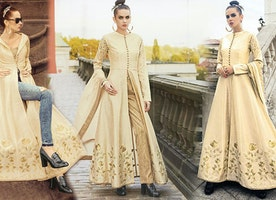 Latest Designer Dresses Designs: Indo Western Style Wedding Party Wear Salwar Kameez Suit for Women