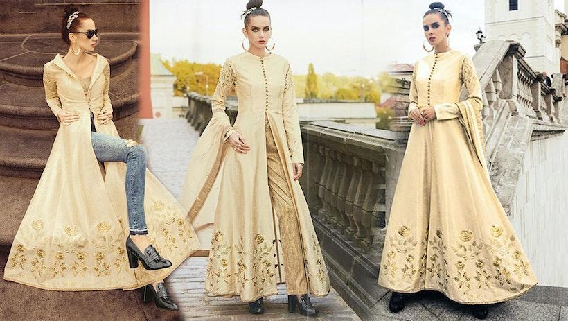 b7bf252ef12c Latest Designer Dresses Designs: Indo Western Style Wedding Party Wear  Salwar Kameez Suit for Women