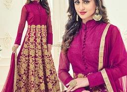 Smart Pink Embroidered Silk Anarkali Salwar Suit Online
