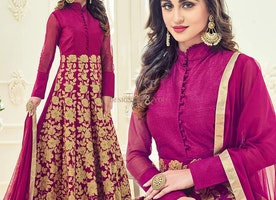 Smart Pink Embroidered Silk Anarkali Salwar Suit Online