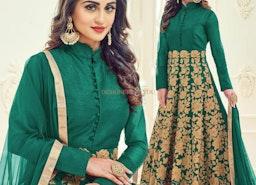Chic Green Embroidered Silk Anarkali Churidar Design