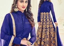 Fascinating Blue Embroidered Silk Long Anarkali Dress