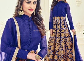 Fascinating Blue Embroidered Silk Long Anarkali Dress