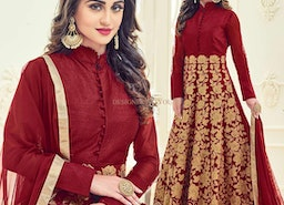 Captivating Maroon Embroidered Silk Floral Anarkali Suit