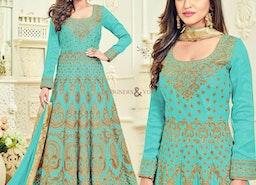 Enchanting Sky Blue Embroidered Silk Anarkali Salwar Kameez