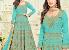 Enchanting Sky Blue Embroidered Silk Anarkali Salwar Kameez