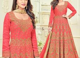 Magnetic Pink Embroidered Silk Anarkali Churidar Design