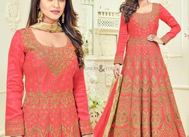 Magnetic Pink Embroidered Silk Anarkali Churidar Design