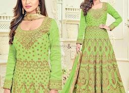 Lovable Green Embroidered Silk Anarkali Salwar Suit
