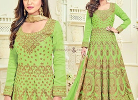 Lovable Green Embroidered Silk Anarkali Salwar Suit