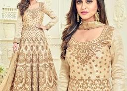 Likeable Beige Embroidered Silk Designer Anarkali Suit Design