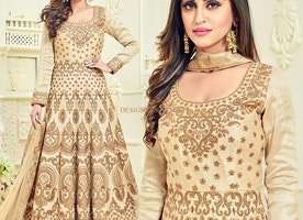 Likeable Beige Embroidered Silk Designer Anarkali Suit Design