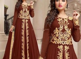 Lovable Brown Embroidered Georgette Floor Length Anarkali