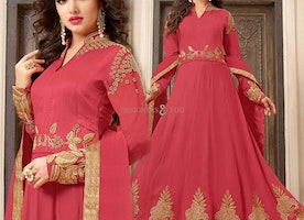 Comely Red Embroidered Georgette Anarkali Gown Suit Style