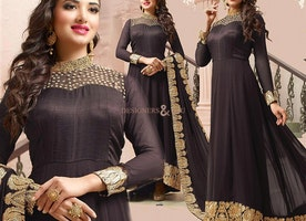 Smashing Brown With Lace Georgette Indian Anarkali For Ladies