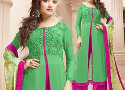 Likeable Green Embroidered Georgette Indo Western Dress For Ladies