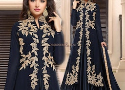 Striking Navy Blue With Lace Georgette Party Dress For Fashionables