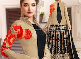 Prepossessing Beige And Black Zari Work Indo Western Suit