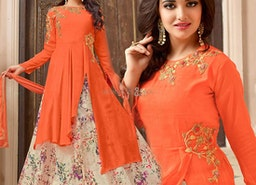 Nice Orange Zari Work Georgette Designer Dress For Party